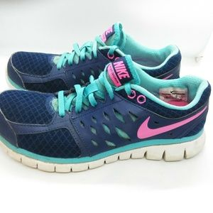 Nike Flex 2013 Run Women's Shoes Sz 7 Blue Pink